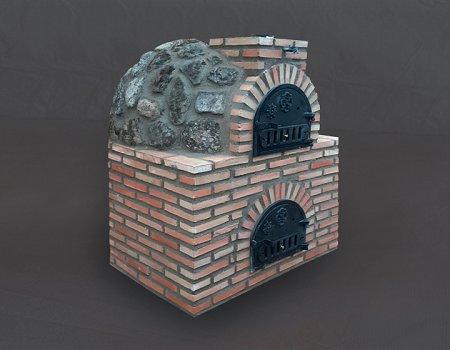 Horno con hornilla acabado en piedra.